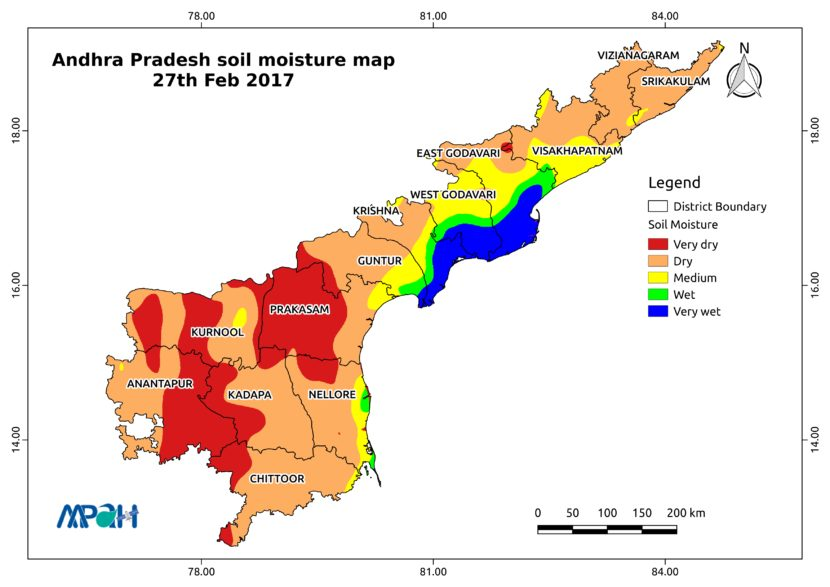 Soil Moisture Map for the state of Andhra Pradesh - Aapah ... on