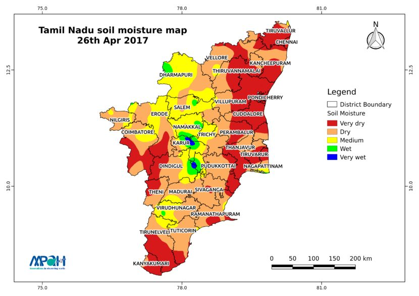 Soil Moisture Map For The State Of Tamil Nadu Aapah Innovations - Tamilnadu map