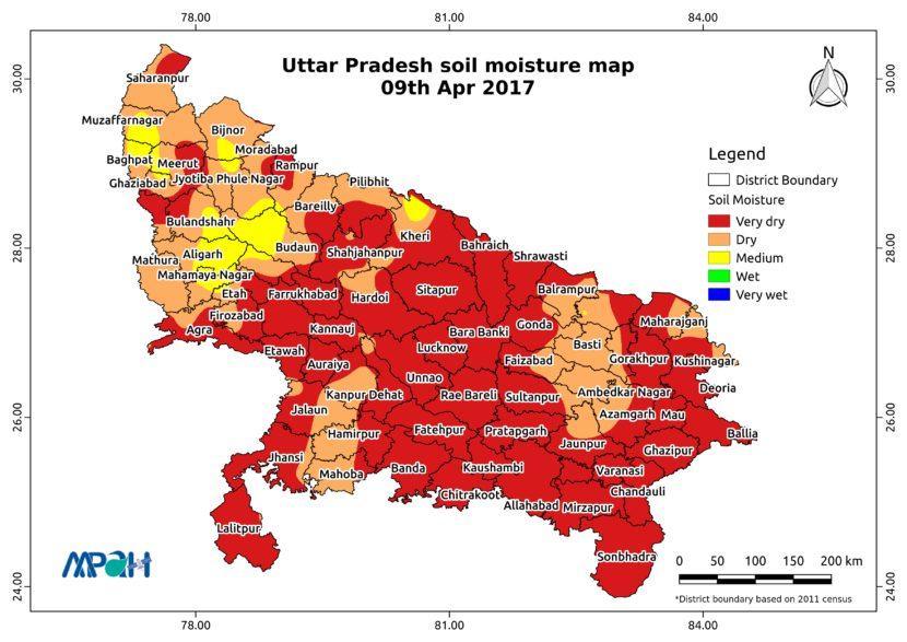 Soil Moisture Map for the state of Uttar Pradesh - Aapah ...