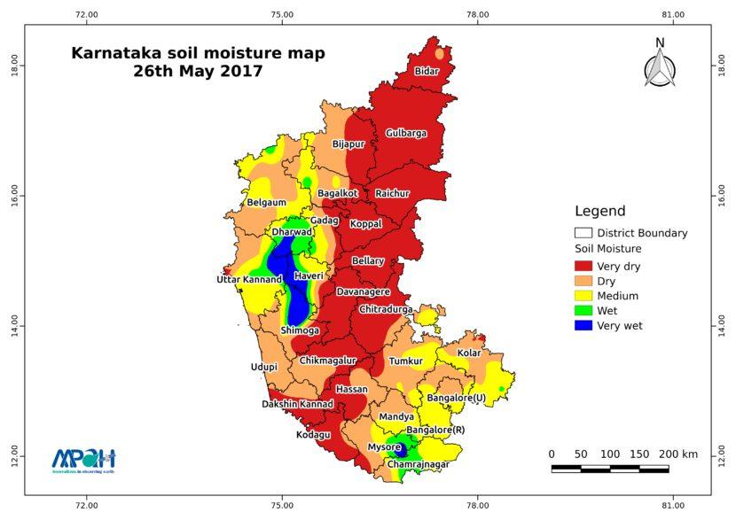 Soil Moisture Map for the state of Karnataka - Aapah Innovations Pvt on