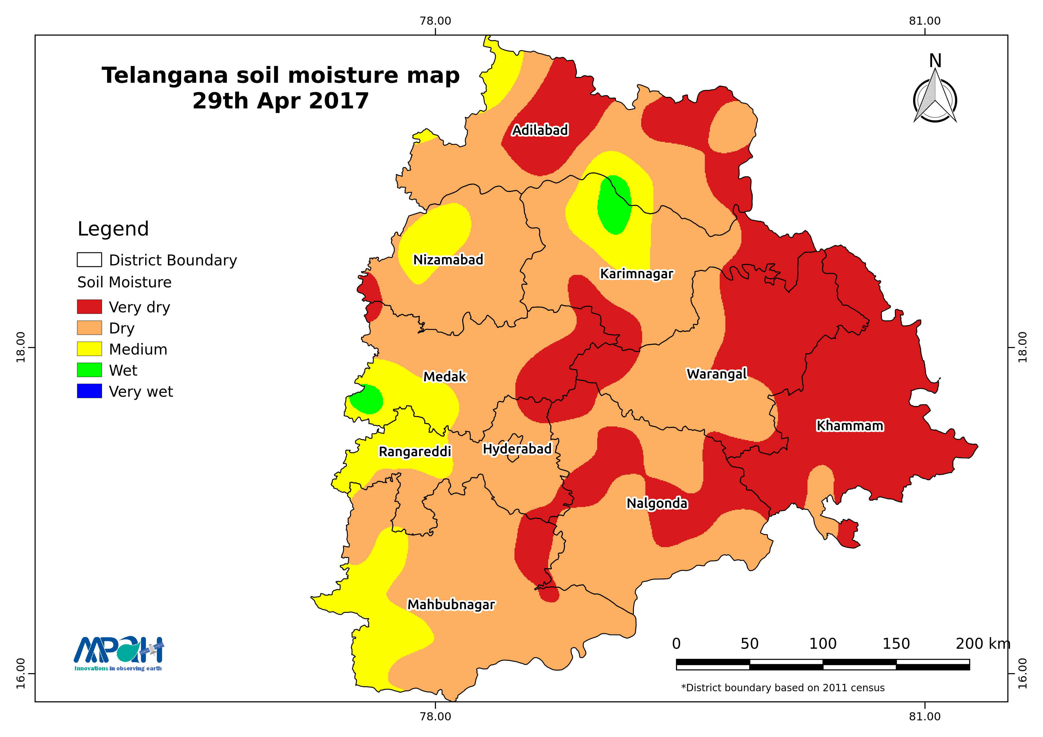 Soil Moisture Map For The State Of Telangana Aapah