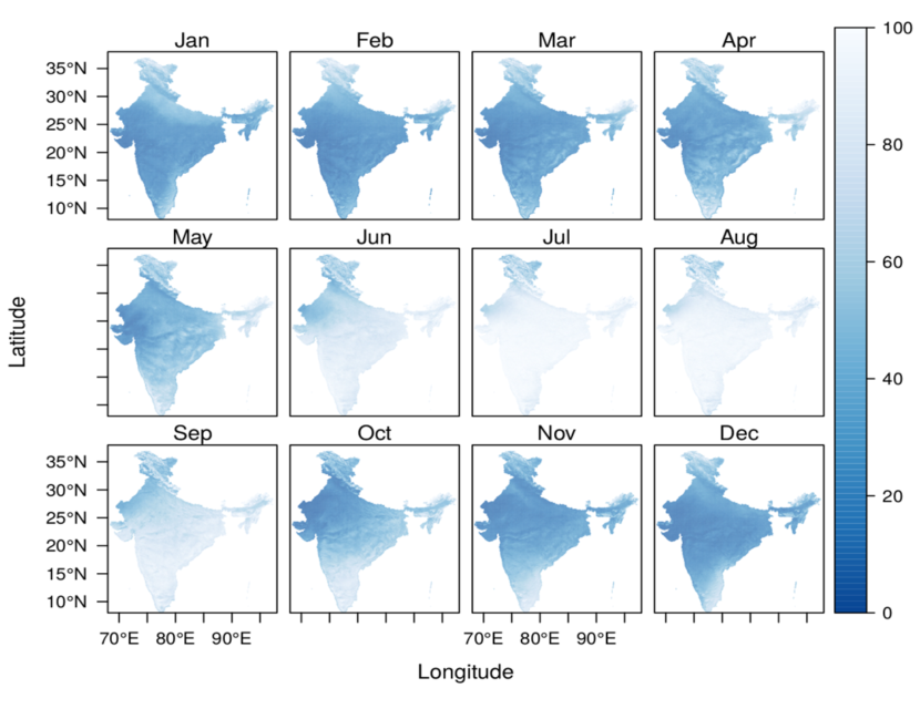 Monthly average cloud condition in India