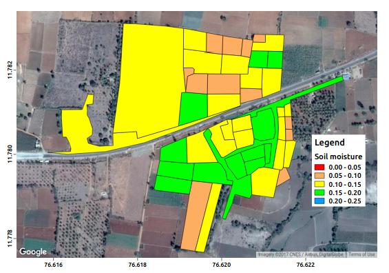 Figure 1. Satellite retrieved soil moisture at farm scale.
