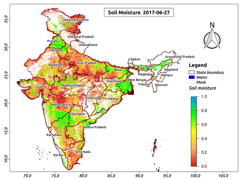 agriculture thematic map of india The First Ever High Resolution Soil Moisture Map Of India One agriculture thematic map of india
