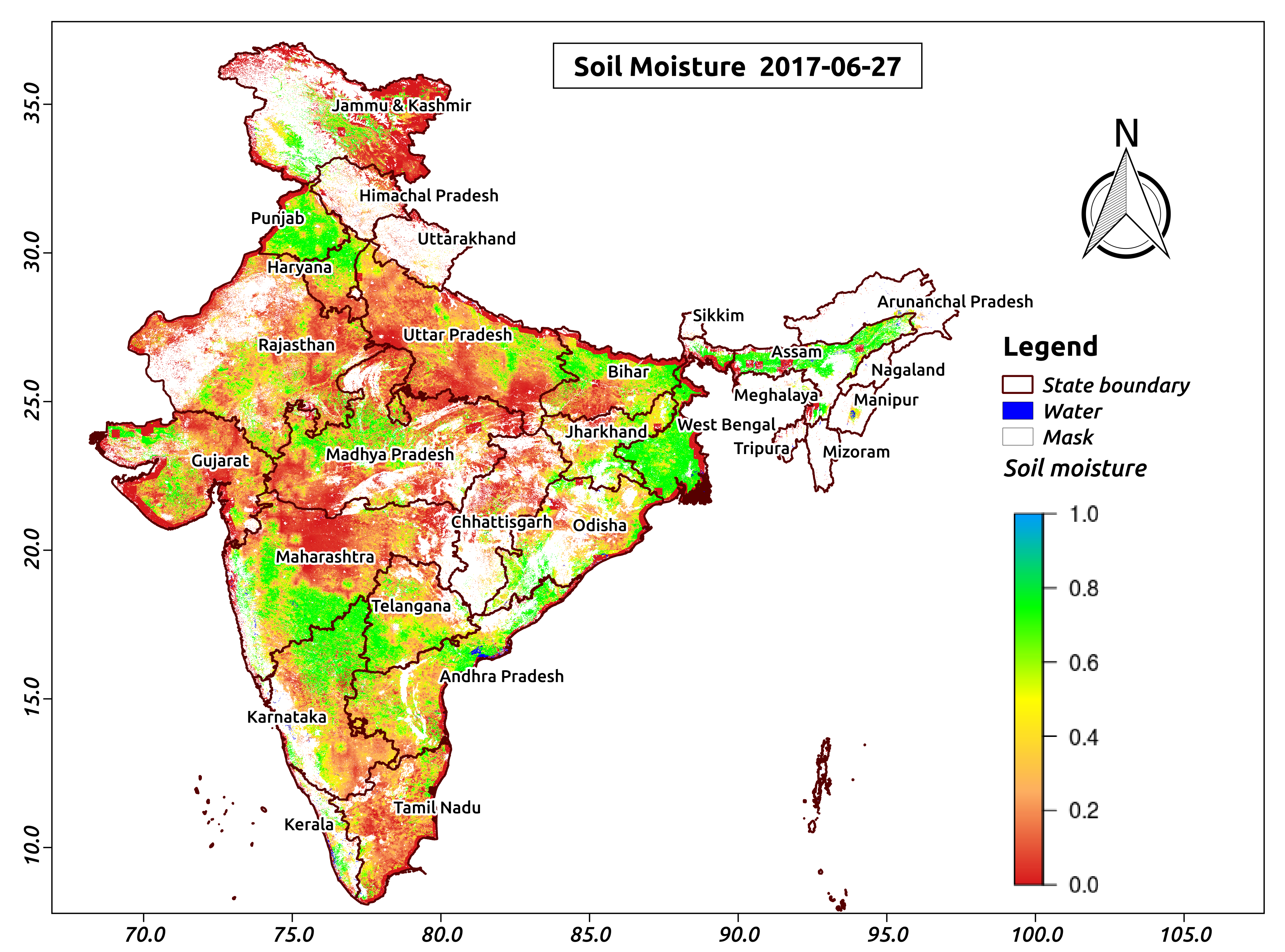 The first ever high resolution soil moisture map of india for Soil in india