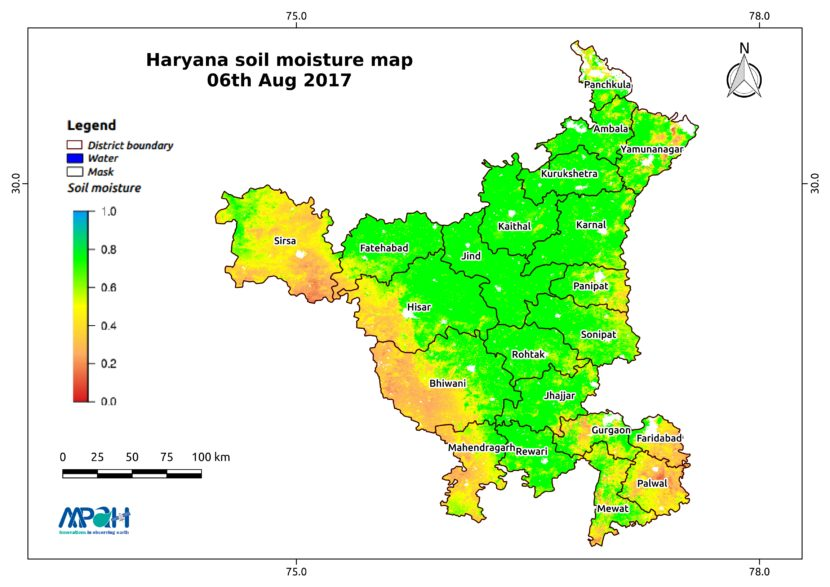 Soil Moisture Map for the state of Haryana - Aapah