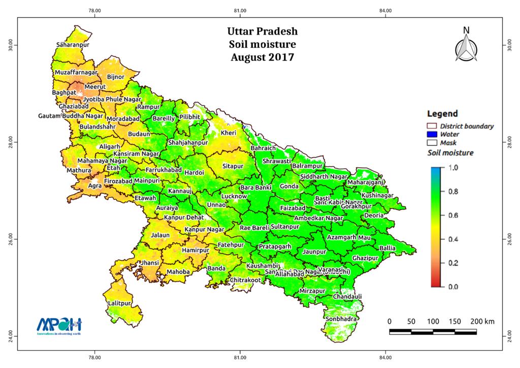 Soil moisture in Uttar Pradesh during August, 2017
