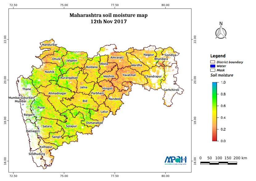 Soil Moisture Map for the state of Maharashtra - Aapah ... on ajanta on map, goa map, bihar map, india map, nagaland map, arunachal pradesh map, madhya pradesh map, kashmir map, andhra pradesh map, west bengal map, aurangabad map, nagpur map, chhatrapati shivaji international airport map, meghalaya map, pune region map, punjab map, gujarat map, palghar district map, tripura map, mumbai map,
