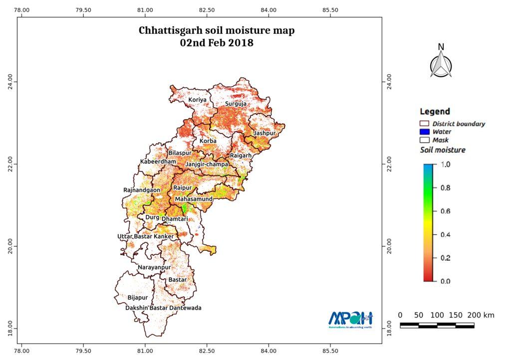 Soil Moisture Map for the state of Chhattisgarh