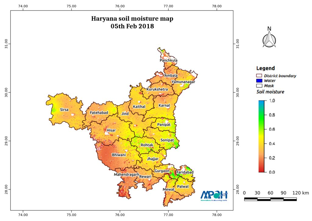Soil Moisture Map for the state of Haryana