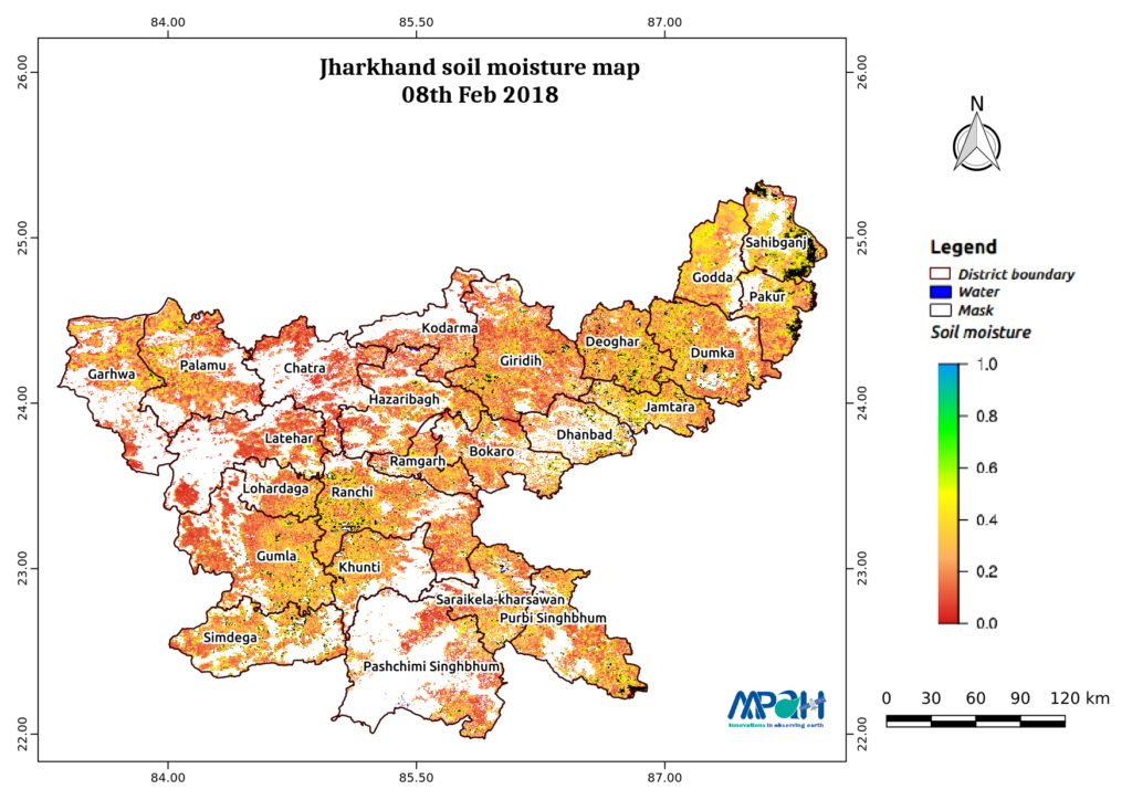 Soil Moisture Map for the state of Jharkhand