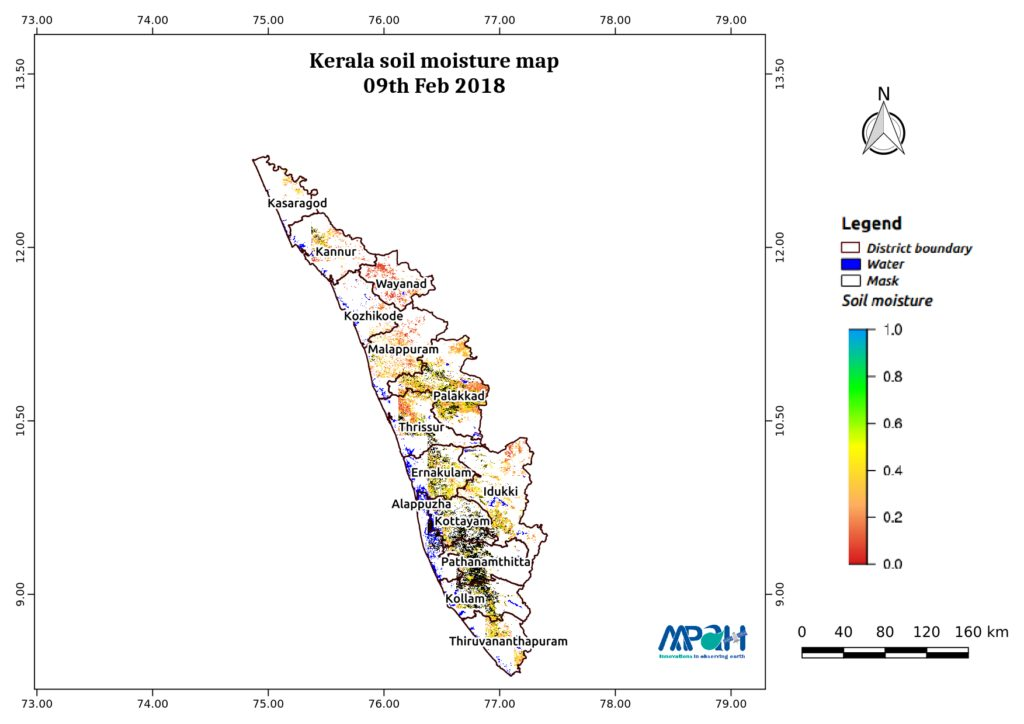 Soil Moisture Map for the state of Kerala