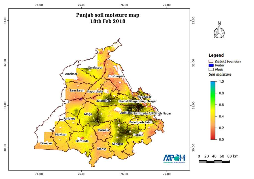 Soil Moisture Map for the state of Punjab