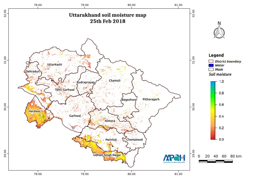Soil Moisture Map for the state of Uttarakhand