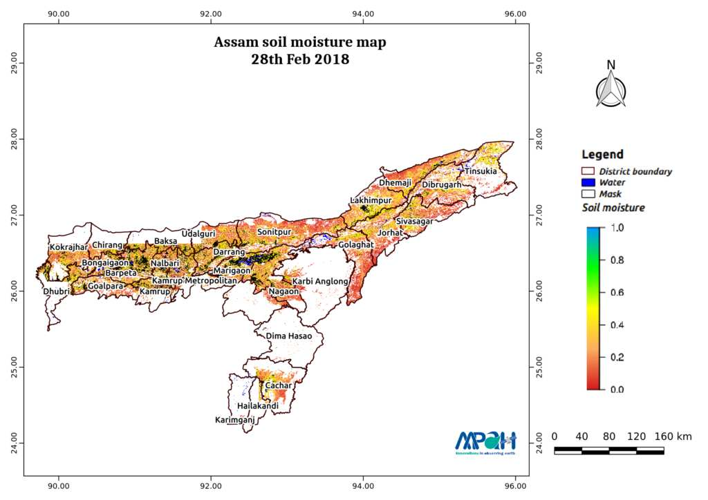 Soil Moisture Map for the state of Assam