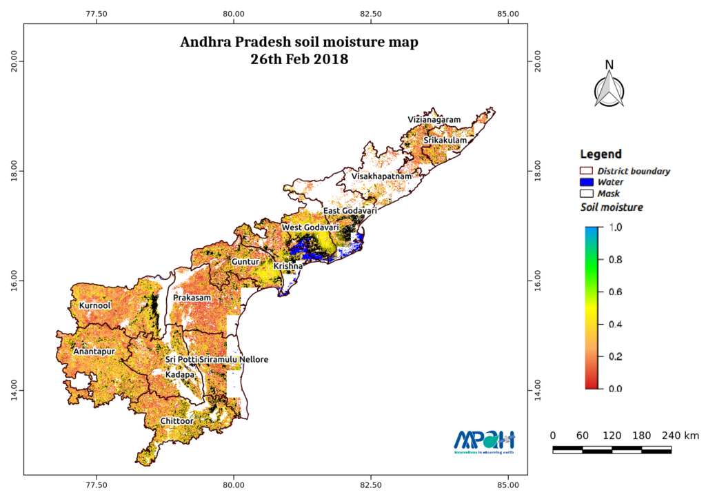 Soil Moisture Map for the state of Andhra Pradesh