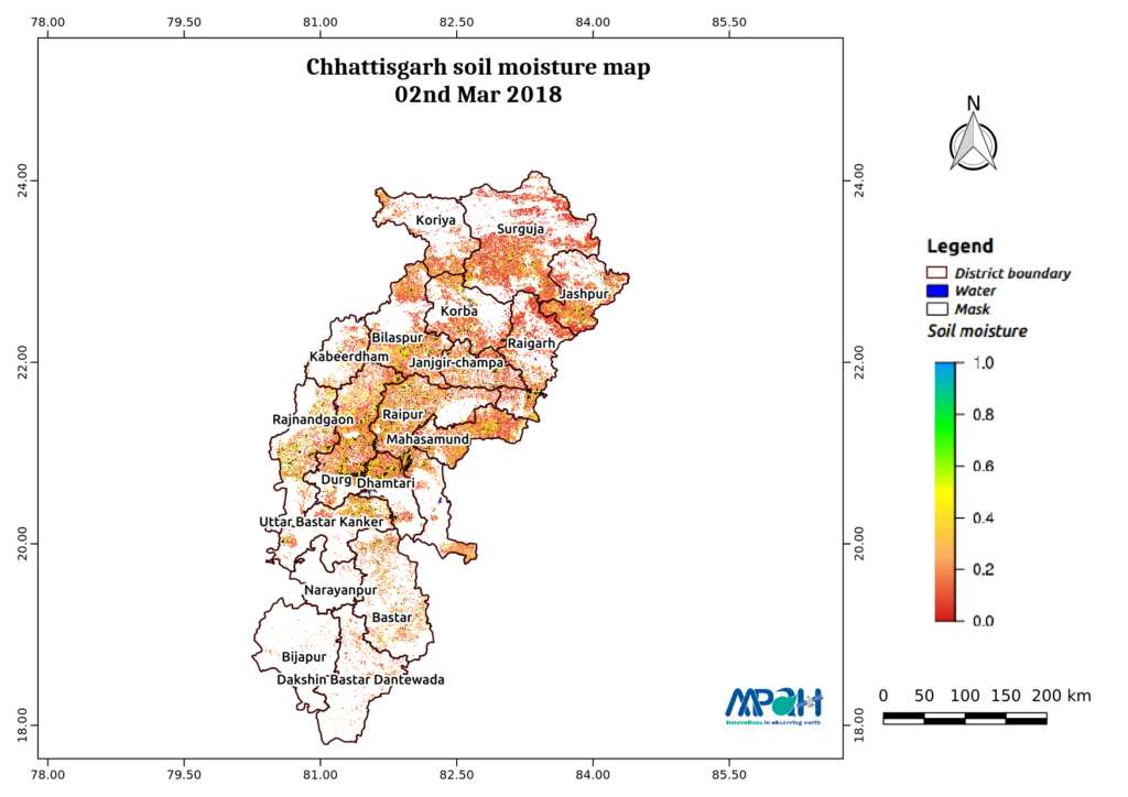 Soil Moisture Map for the state of Chhattisgarh